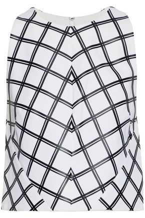 PROENZA SCHOULER Appliquéd checked crepe top
