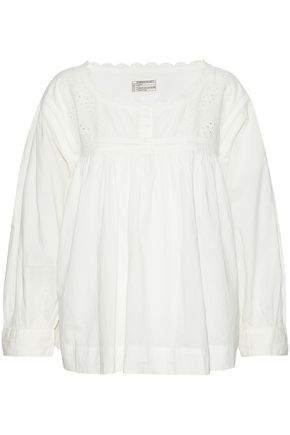 CURRENT/ELLIOTT Broderie anglais-paneled gathered cotton top