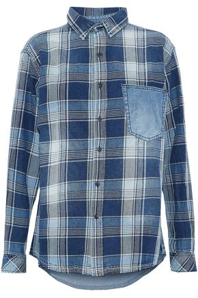 CURRENT/ELLIOTT Chambray-paneled checked cotton-twill shirt
