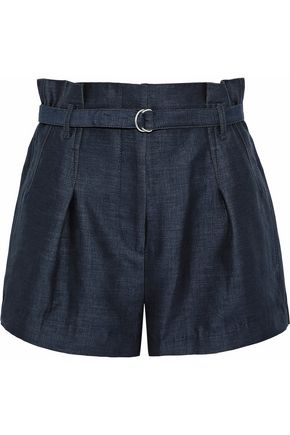 3.1 PHILLIP LIM Belted cotton and silk-blend chambray shorts