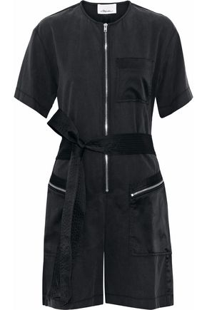 3.1 PHILLIP LIM Satin-paneled cutout Tencel and cotton-blend twill playsuit