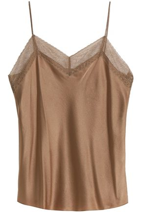 VINCE. Lace-trimmed silk-satin top