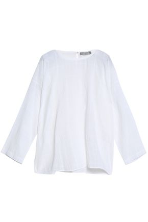 VINCE. Embroidered cotton-gauze top