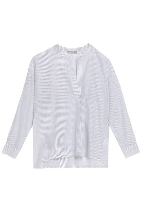 VINCE. Striped cotton-poplin top