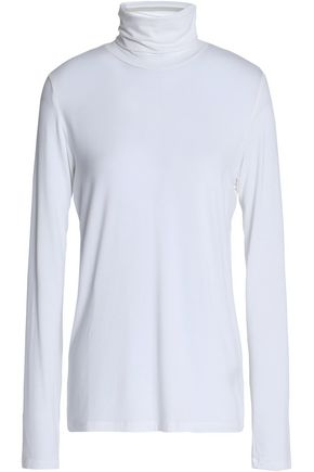 MAJESTIC FILATURES Mélange stretch-jersey turtleneck top