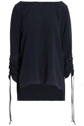 CHARLI Gathered washed-silk top