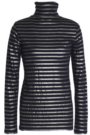MAJESTIC FILATURES Metallic cotton and cashmere-blend turtleneck top