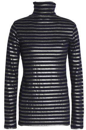 MAJESTIC FILATURES Metallic cotton and cashmere-blend turtleneck top