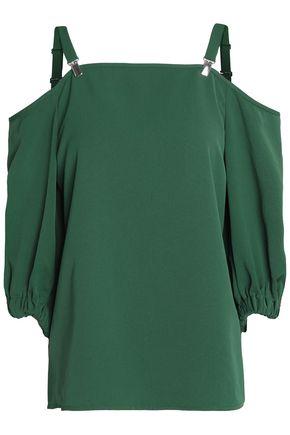 TIBI Cold-shoulder crepe blouse