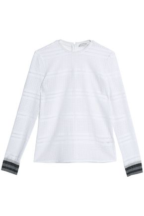 TIBI Metallic-trimmed open-knit top