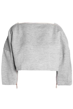 TIBI Cropped zip-detailed cotton and linen-blend top