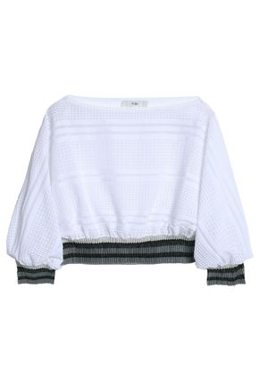TIBI Cropped metallic-trimmed open and pointelle-knit top