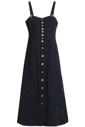 TIBI Button-detailed cotton-blend midi dress