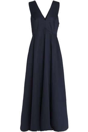 TIBI Cotton-poplin flared maxi dress