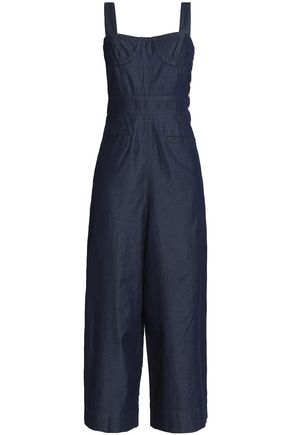 TIBI Cropped denim jumpsuit