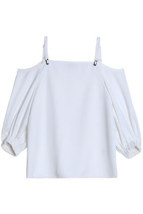 TIBI Cold-shoulder crepe top