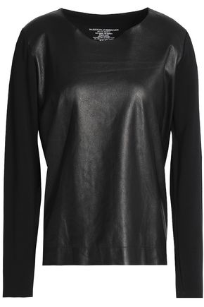 MAJESTIC FILATURES Jersey-paneled leather top