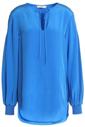 TIBI Pintucked silk tunic