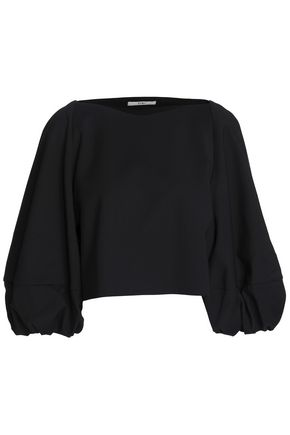 TIBI Cropped cotton-blend top
