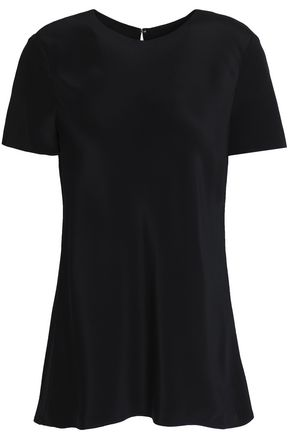 TIBI Fluted silk crepe de chine T-shirt