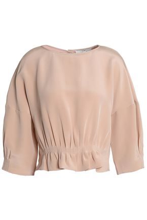 TIBI Gathered silk-crepe de chine top