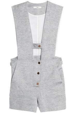 TIBI Freddie cutout cotton and linen-blend twill playsuit