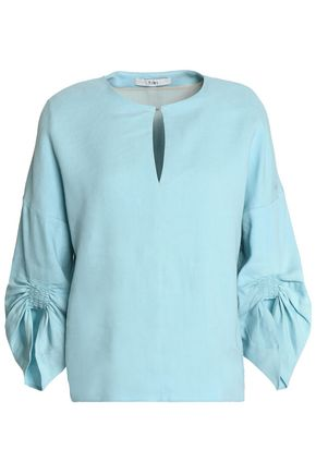 TIBI Ruched linen-blend top