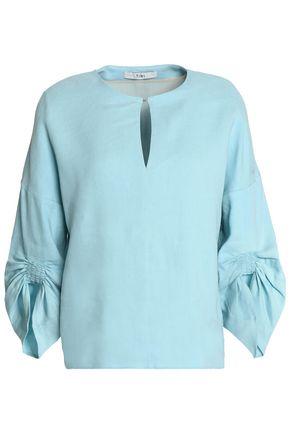 TIBI Ruched linen-blend top