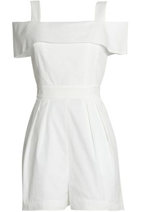 TIBI Cold-shoulder pleated seersucker playsuit