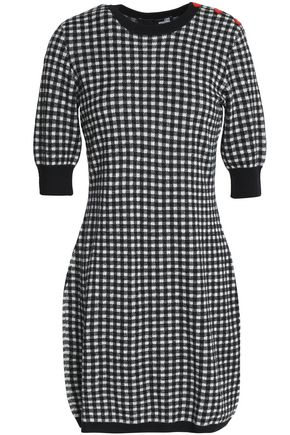 LOVE MOSCHINO Appliquéd gingham intarsia-knit mini dress