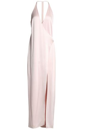 HALSTON HERITAGE Wrap-effect satin-crepe gown