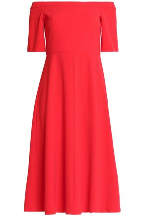 TIBI Off-the-shoulder stretch-cady midi dress