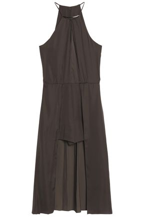 HALSTON HERITAGE Layered cutout satin playsuit