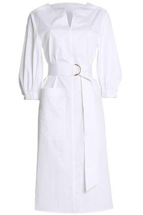 TIBI Belted cotton-poplin midi dress