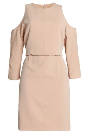 TIBI Savanna cold-shoulder layered crepe mini dress