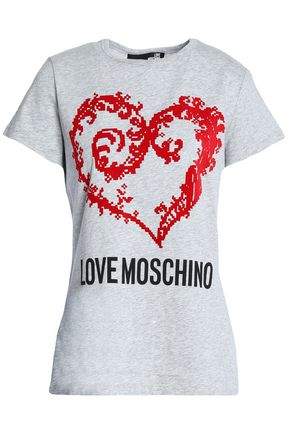 LOVE MOSCHINO Printed cotton-jersey top