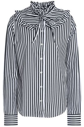 LOVE MOSCHINO Pussy-bow ruffle-trimmed striped cotton-poplin shirt