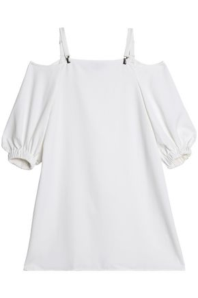 TIBI Cold-shoulder gathered canvas mini dress