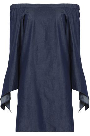 TIBI Off-the-shoulder draped cotton-chambray mini dress