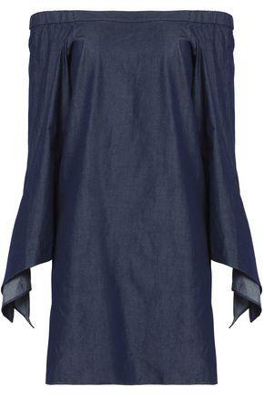 TIBI Off-the-shoulder draped cotton-chambray mini dress