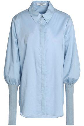 TIBI Ribbed knit-paneled cotton-poplin top