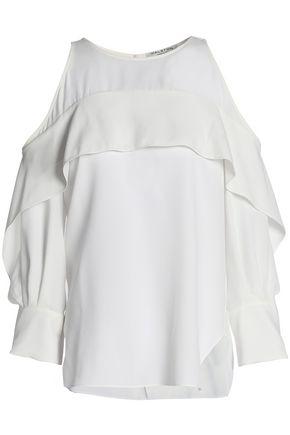 HALSTON HERITAGE Cold-shoulder ruffled crepe top