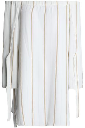 HALSTON HERITAGE Off-the-shoulder striped crepe top