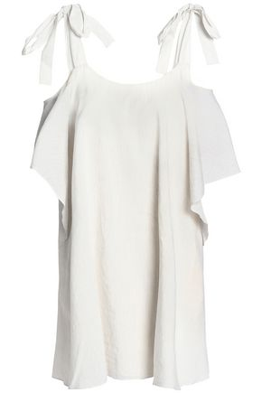 HALSTON HERITAGE Cold-shoulder draped gauze mini dress