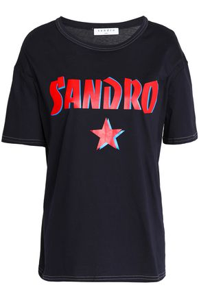 SANDRO Paris Printed cotton-jersey T-shirt