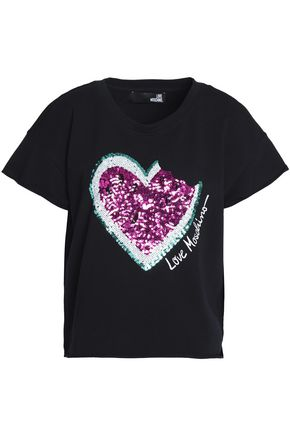LOVE MOSCHINO Printed stretch-cotton T-shirt