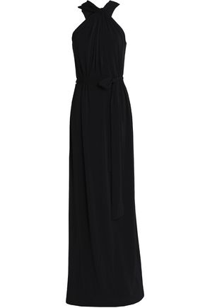 HALSTON HERITAGE Knotted cady halterneck gown