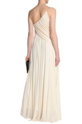 HALSTON HERITAGE One-shoulder draped crepe de chine gown