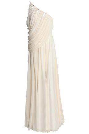 HALSTON HERITAGE One-shoulder draped crepe de chine gown