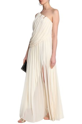 One Shoulder Draped Crepe De Chine Gown by Halston Heritage